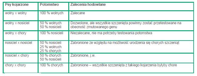 ZALECENIA HODOWLANE GEN RECESYWNY